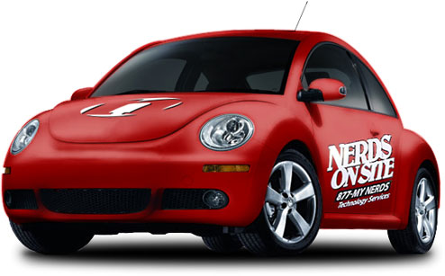 red nerds on site service car vw beetle